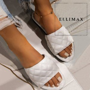 NEW White Open Toe Quilted Slide Sandal Flop Flops